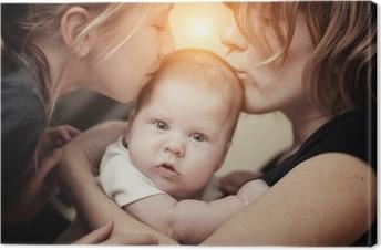 Tableau sur toile Mère et fille de la sœur embrasser petite fille