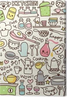 Tableau sur toile Mignon trucs cuisine doodle