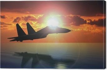 Tableau sur toile Militaire d'avions de vol sur Bright Sun
