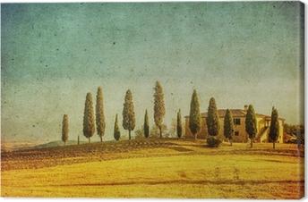 Tableau sur toile Millésime paysage toscan