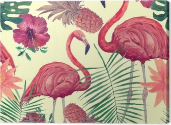 Tableau sur toile Modèle aquarelle transparente avec flamant, feuilles, fleurs. hanad dessiné.