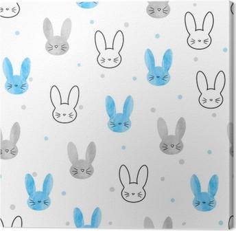 Tableau sur toile Modèle de lapin sans soudure. fond de vecteur avec des lapins bleus et gris.