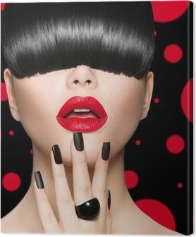 Tableau sur toile Modèle de portrait de fille avec la mode Coiffure, maquillage et manucure