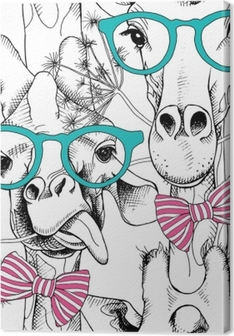 Tableau sur toile Modèle sans couture avec des girafes dans les verres et avec un arc. illustration vectorielle