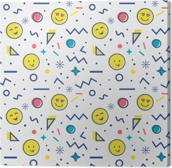 Tableau sur toile Modèle sans couture avec emoji dans le style de Memphis.