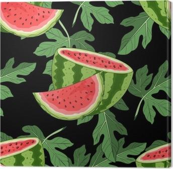 Tableau sur toile Modèle sans couture avec pastèque et feuilles tropicales en arrière-plan. illustration vectorielle