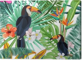Tableau sur toile Modèle sans couture de vecteur avec des feuilles de palmiers tropicaux verts, des fleurs d'hibiscus et des oiseaux toucan. fond de la nature. éléments de design à la mode d'été ou de printemps pour des impressions de textile de mode et des cartes de voeux.