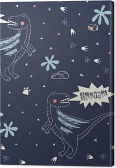 Tableau sur toile Modèle sans couture enfantin avec dino dessiné à la main dans un style scandinave. fond de vecteur créatif semblable à un enfant pour le tissu, le textile, l'habillement et plus
