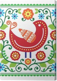 Tableau sur toile Modèle vectoriel d'art populaire avec des oiseaux et des fleurs