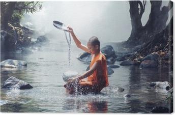 Tableau moine bouddhiste 3 tableaux sur toile moine jeu d 39 eau