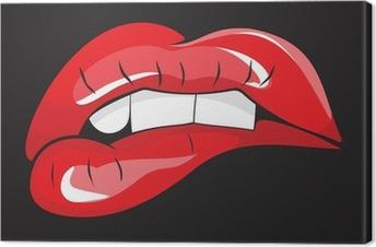 Tableau sur toile Mordait les lèvres rouges dents