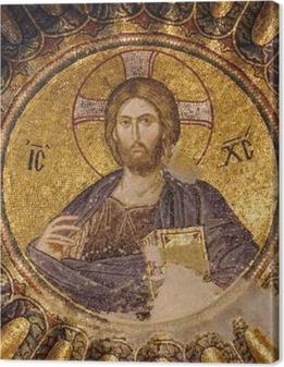 Tableau sur toile Mosaïque du Christ Pantocrator dans la coupole sud du narthex intérieur de l'église Chora, Istanbul, Turquie.