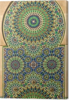 Tableau sur toile Mosaïque fleurie sur une mosquée marocaine
