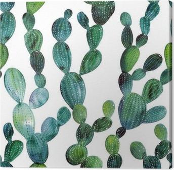 Tableau sur toile Motif de Cactus dans le style d'aquarelle