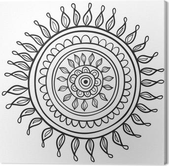 Tableau sur toile Motif de Mandala noir et blanc isolé dans le vecteur