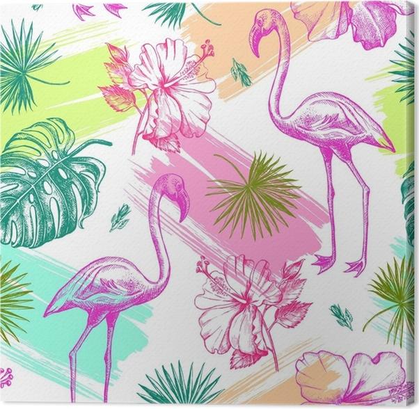 tableau sur toile motif d coratif sans couture avec des fleurs d 39 hibiscus tropicaux dessin s. Black Bedroom Furniture Sets. Home Design Ideas