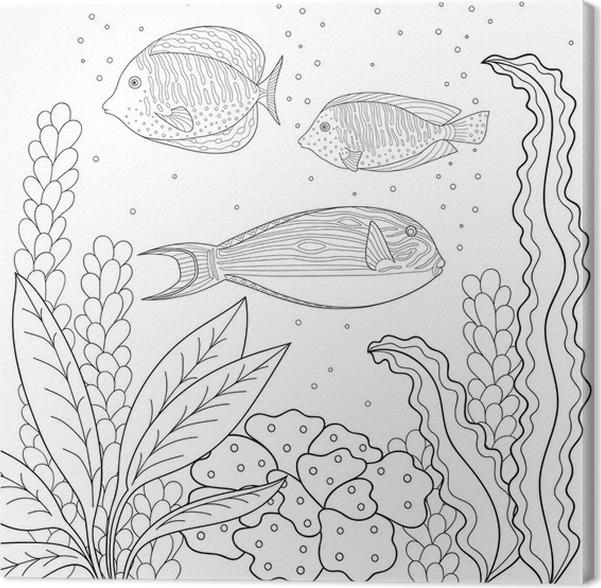 tableau sur toile motif doodle en noir et blanc motif marine pour livre de coloriage mer. Black Bedroom Furniture Sets. Home Design Ideas