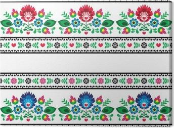 Tableau sur toile Motif folklorique polonais transparente avec des fleurs