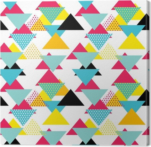tableau sur toile motif g om trique sans couture avec triangles magenta bleus jaunes dans le. Black Bedroom Furniture Sets. Home Design Ideas