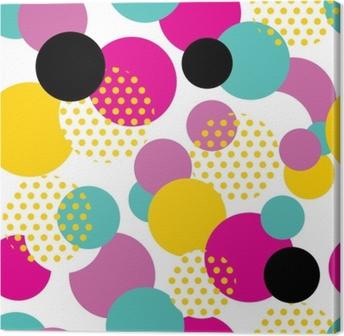 Tableau sur toile Motif géométrique sans couture dans le style des années 80 rétro. modèle de cercle pop art sur fond blanc.