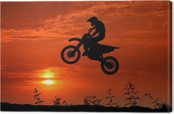 Tableau sur toile Motocross au coucher du soleil
