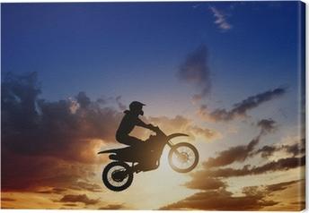 Tableau sur toile Motorcircle silhouette du cycliste