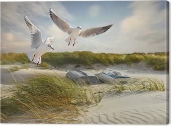 Tableau sur toile Mouettes, des dunes et des bateaux de pêche