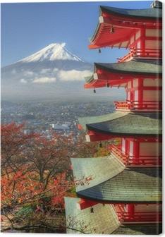 Tableau sur toile Mt. Fuji et feuilles d'automne à Arakura Sengen Shrine au Japon