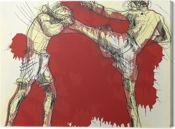 Tableau sur toile Muay Thai (art martial de la Thaïlande) - dessin à la main dans le vecteur