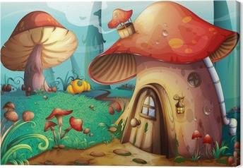 Tableau sur toile Mushroom house