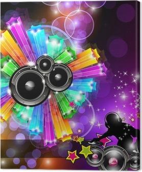 Tableau sur toile Musique Disco Flyer pour des soirées dansantes