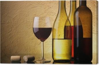 Tableau sur toile Nature morte avec trois bouteilles de vin et le verre