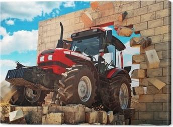 Tableau sur toile Neuf Tracteur briser le mur