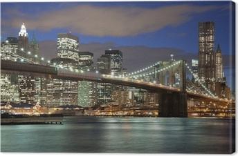 Tableau sur toile New York City skyline-Brooklyn Bridge