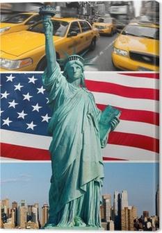 Tableau sur toile New York, statue de la liberté, taxi, skyline