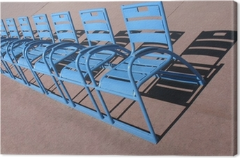 Tableau sur toile Nice Promenade des Anglais, les chaises bleues