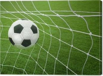Tableau sur toile Objectif. un ballon de soccer dans un filet.
