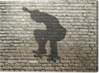 Tableau sur toile Ombre de skate-boarder sur mur de briques