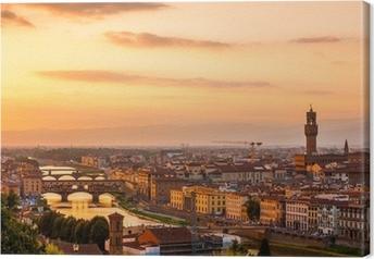 Tableau sur toile Or coucher de soleil sur la rivière Arno, à Florence, Italie