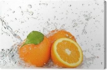 Tableau sur toile Orange fruits et les projections d'eau