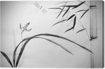 Tableau sur toile Orchidée sauvage et le bambou