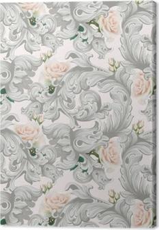 Tableau sur toile Ornement de luxe rococo avec vecteur de fond de fleurs roses. délicats éléments complexes riches impériaux. modèle de style royal victorien