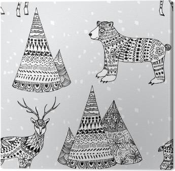 Tableau sur toile Ours, motif d'hiver cerfs et montagne dessinés à la main