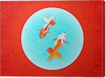 Tableau sur toile Paire de golfishes plus de drapeau japonais inversé dans les vagues