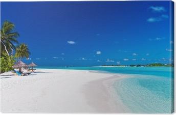 Tableau sur toile Palmiers sur lagon et plage de sable blanc