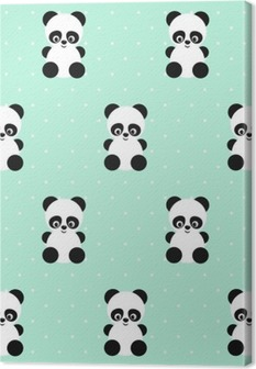 Tableau sur toile Panda pattern sur des points de polka de fond vert. Conception mignonne pour impression sur les vêtements de bébé, textile, papier peint, tissu. Vecteur de fond avec sourire panda bébé animal. style enfant illustration.