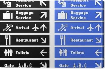 Tableau sur toile Panneaux indiquant l'aéroport
