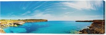 Tableau sur toile Panorama de la baie avec les côtes rocheuses, Mallorca, Espagne
