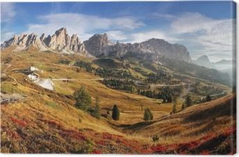 Tableau sur toile Panorama de montagne en Italie Alpes Dolomites - Passo Gardena