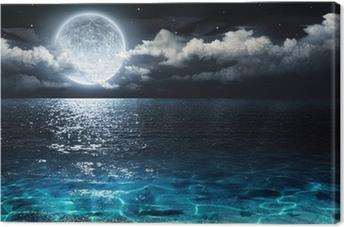 Tableau sur toile Panorama romantique et pittoresque avec la pleine lune sur la mer pour la nuit